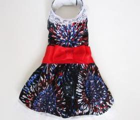 Dog Clothes Dresses Dress Fireworks Crystal Designs Fourth of July
