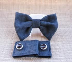 Cuffs and Bow Tie : Dark Linen Gray Combo Dog Wedding Attire