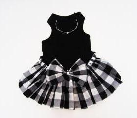 Dog Clothes Dog dresses tank style Black and White Checked